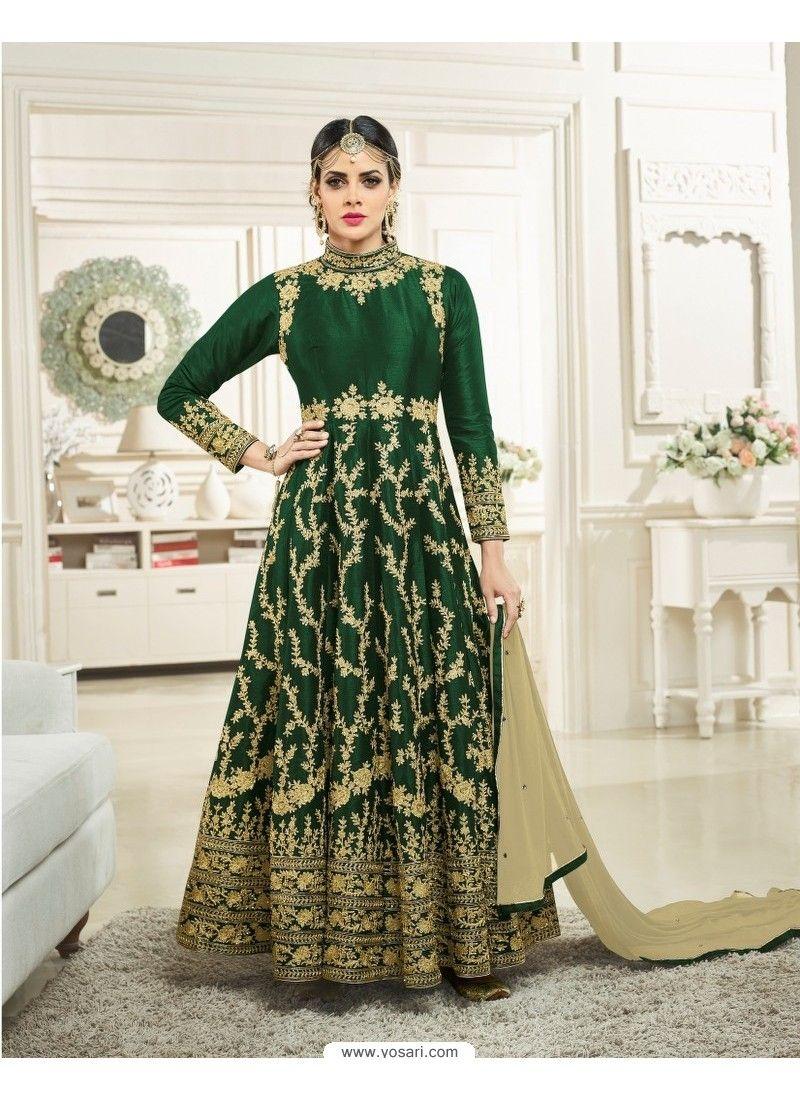 246fd7ae15 Dark Green Silk Heavy Embroidered Designer Anarkali Suit in 2019 ...
