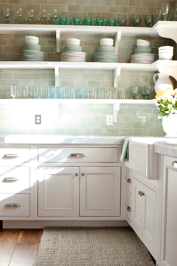 cabinet color, tile, open shelves, sink  - love the styling of dishes/glassware
