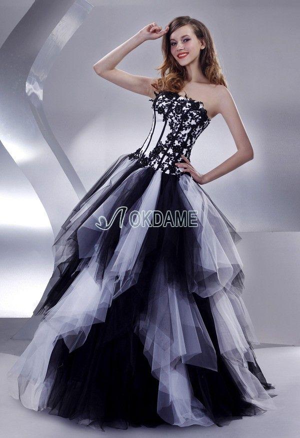Tüll Prinzessin Satin romantisches Quinceanera Kleid ohne Träger ...
