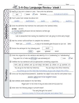 Free 5 A Day Common Core Language Review For 1 Week 5th Grade