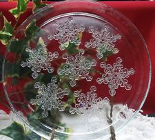 Etched Glass Snowflake Platter 12 Round Plate In Clear Glass