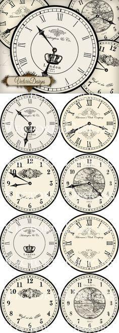 Large Printable Vintage Clocks Great For Crafting Imprimir Druckvorlagen Vintage Bilder Und Bastelarbeiten