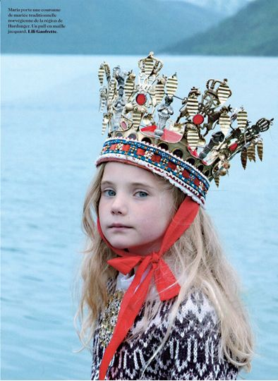 Norwegian princess style by Milk Magazine; Traditional Norwegian bridal crown matched with Fair Isle knit sweater by Lilli Gaufrette.