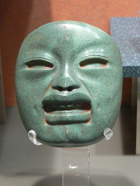 Mascara Olmeca de Jade que se encuentra en el Museo Nacional de Antropología.