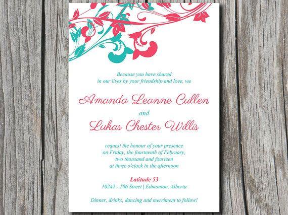 Whimsical Vines Wedding Invitation Microsoft Word Template | 5x7 Turquoise  Blue Watermelon Pink Wedding Invitation Printable