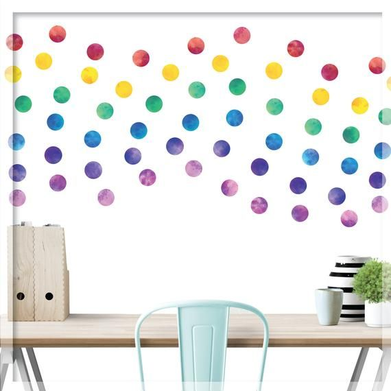 Watercolor Polka Dot Wall Decal Watercolor Rainbow Polka Etsy