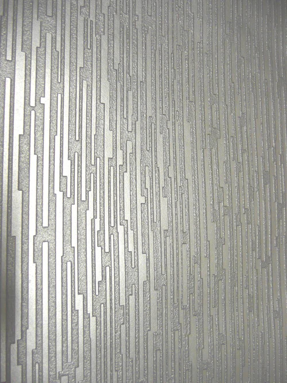 Silver Textured Wallpaper … | Walls | Silver wall decor ...