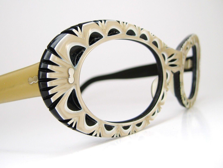 db8c4543e52c Vintage 60s Funky Cat Eye Eyeglasses Frame.  145.00