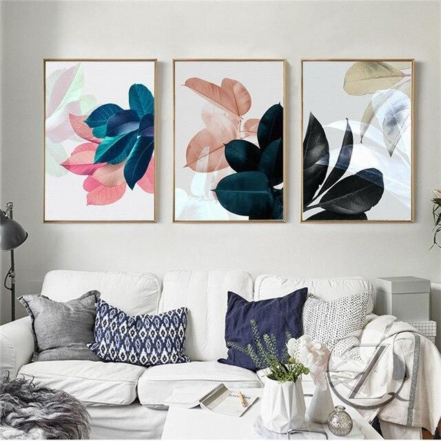 Photo of Watercolor Leaf Plant Picture Home Decor Nordic Canvas Painting Wall Art Colorful Vivid Print and Poster for Nordic Bedroom – 20x30cm no frame / 3Pcs-DCZW09