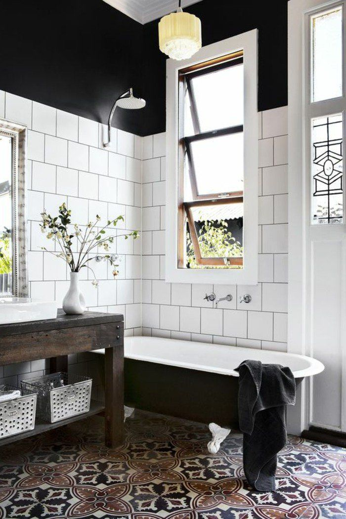 carrelage blanc, salle de bain magnifique avec des carreaux blancs