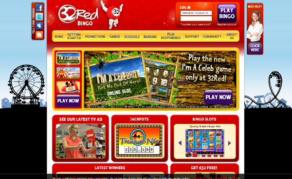 Play bonus with 32red Bingo. Only cash players are