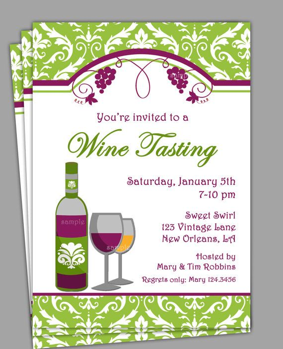 Wine Tasting Invitation Printable Or Printed With Free Shipping