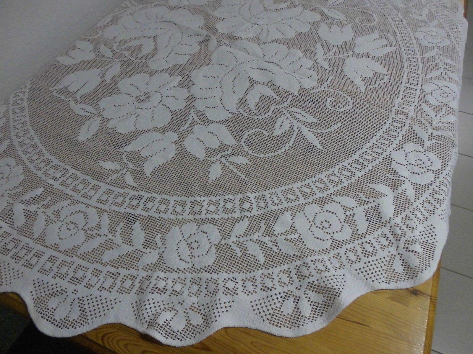 Alte Spitzen Tischdecke Creme Weiß Rund 136 Cm Bogenrand Eur 9