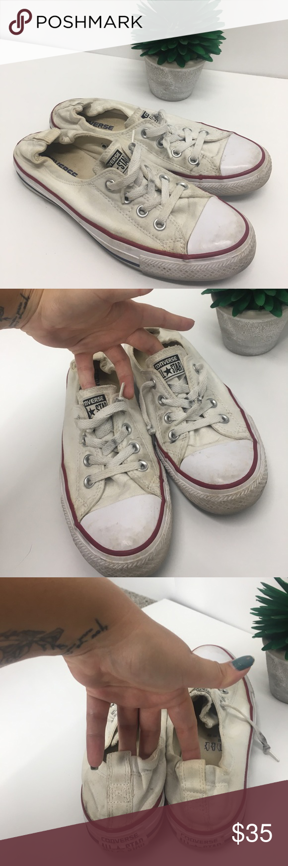 d8d97282002c Converse white shoreline low sneakers Great condition! Just dirty and need  cleaned. Shoreline low style. Will clean before shipment for a full price  sale.