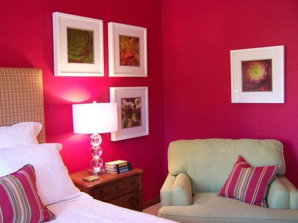 love the raspberry wall color | Room wall colors, Family ...