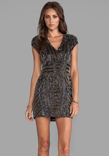 Parker Serena Sequin Dress In Black