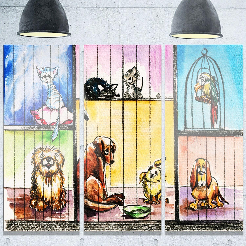 Designart \'Sad Animals in the Pound\' Animal Metal Wall Art ...