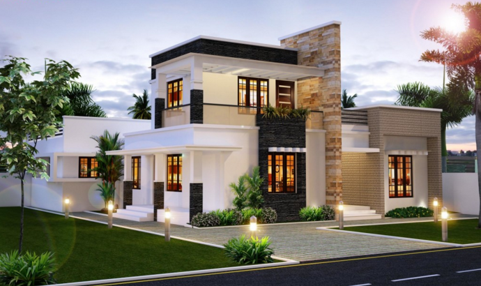 Modern Homes In The Tampa Bay Area Flat Roof House Modern House Plans Kerala House Design