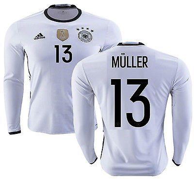 7ef41db11db ADIDAS GERMANY EURO 2016 THOMAS MULLER LONG SLEEVE HOME JERSEY White Black.