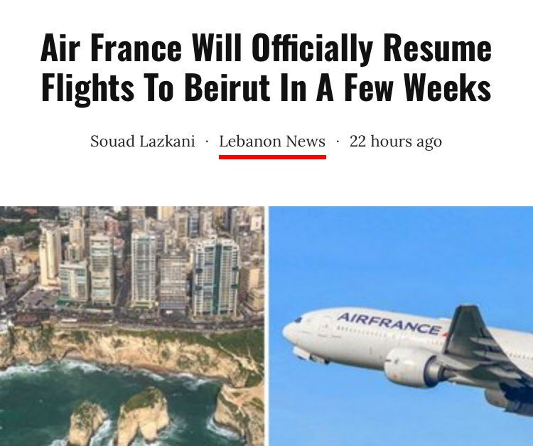 Air France Will Officially Resume Flights To Beirut In A Few Weeks In 2020 Air France France Beirut