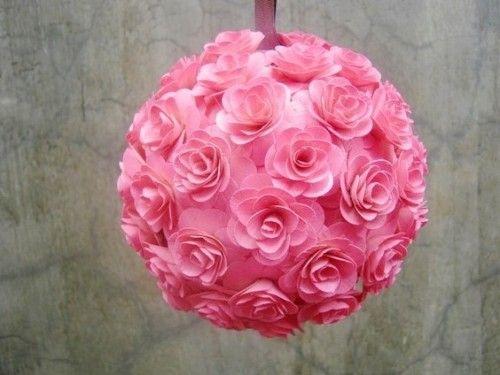 Soft Pink Roses Wooden Pomander