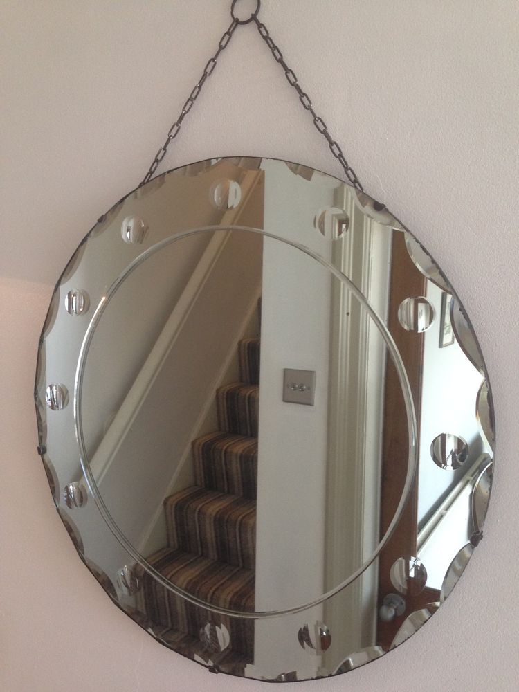 Vintage 40s 50s Bevelled Edge Round Mirror Frameless Original Chain Large 50cm Mirror Round Mirrors Antique Mirror