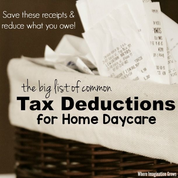 Home daycare tax deductions for child care providers for Tax deductions for home improvements