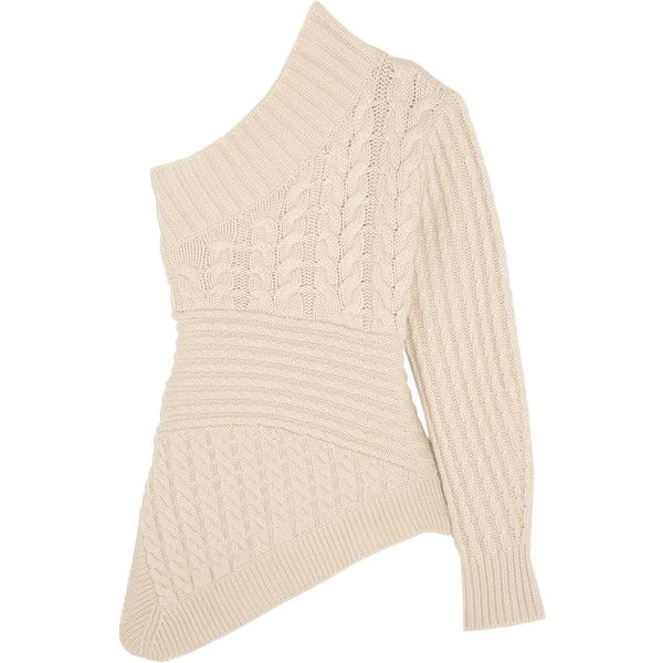 d5aa17b20f7045 Burberry One-shoulder cable-knit cashmere sweater found on Polyvore  featuring tops, sweaters, burberry, ivory, cable sweater, cream sweater,  cream shirt, ...