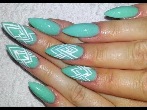 Easy Mint Green And White Graphic Pattern Almond Shaped Acrylic Nail D