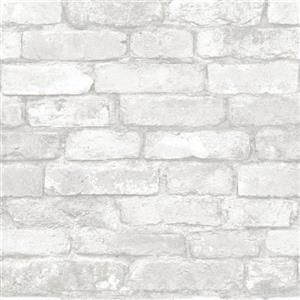 Nuwallpaper Grey And White Brick Peel And Stick Wallpaper Lowe S Canada Brick Effect Wallpaper Removable Brick Wallpaper White Brick