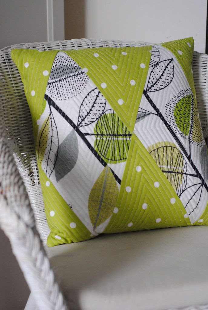 Lucy from the Magpies Laundry blog has created this patchwork cushion using our Dotty Lime fabric our autumn leaves fabric in Lime.