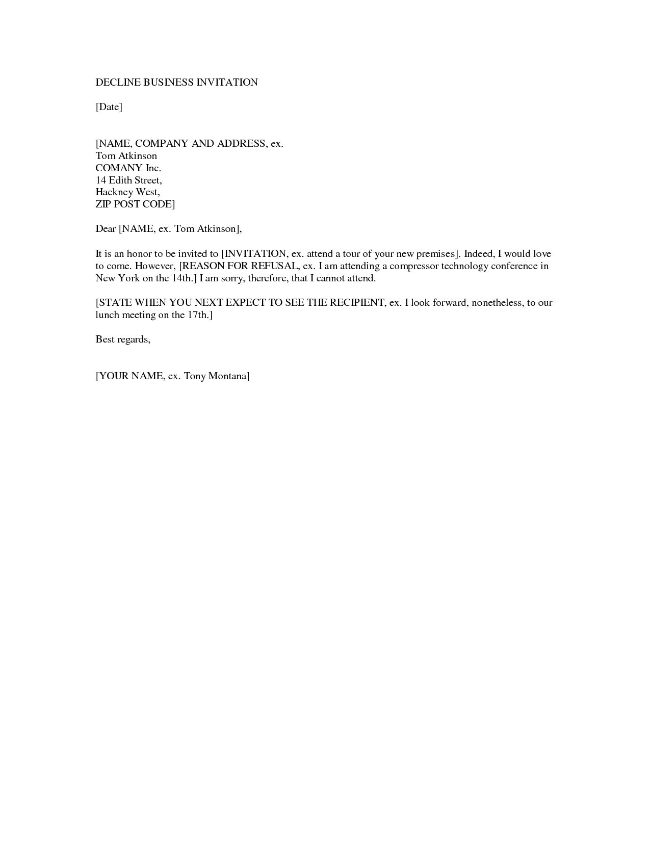 decline wedding invitation sample