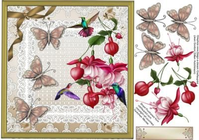 Lovely Fushia s and Humming Birds on Craftsuprint - Add To Basket!