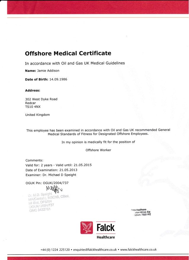 Offshore Medical Certificate In accordance with Oil and Gas UK - medical certificate