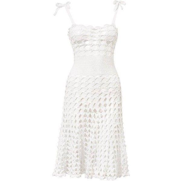 Beauty & the Beach Sydney Dress ($126) ❤ liked on Polyvore featuring dresses, swimwear, white, macrame dress, white dress, tie dress, crochet dress and white tie dress