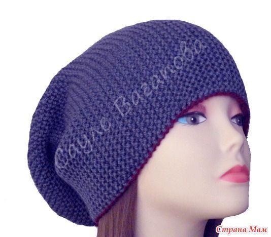 Мужская шапка поперечного вязания