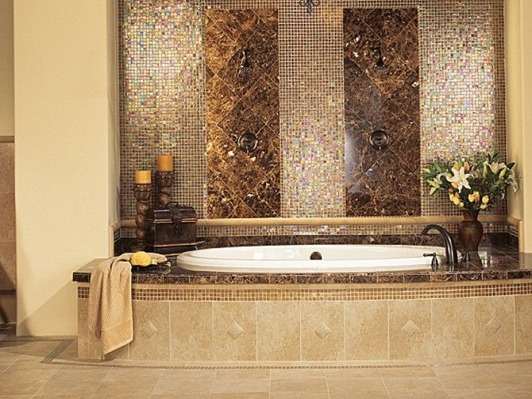 dark Brown granite and mozaic Bathroom Tile wall connected by soft ...