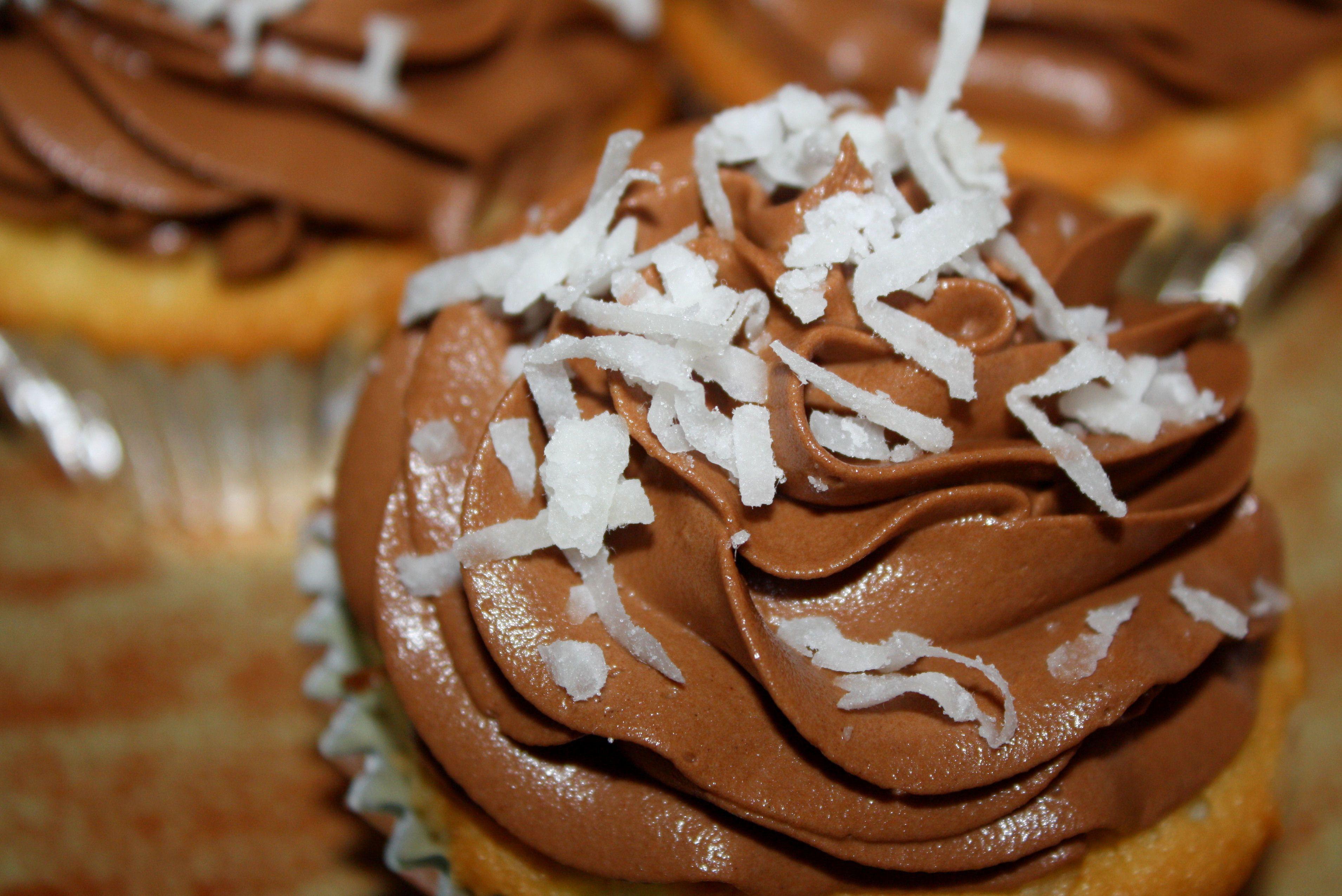 Wedding Cupcakes (Sweet Coconut cake, Chocolate ganache filling w/toasted coconut, chocolate buttercream, shredded sweet coconut)