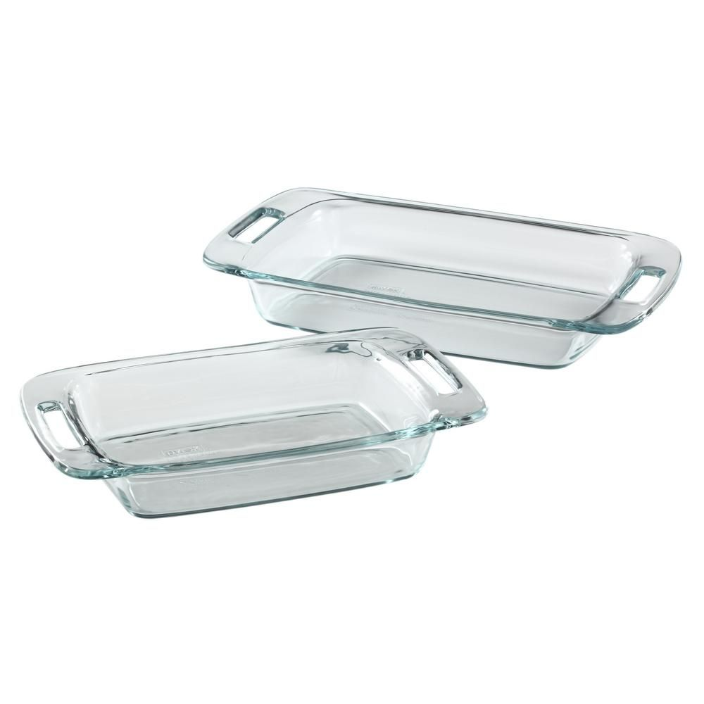 Pyrex Easy Grab Glass Bakeware Value Pack 2 Piece Clear Pyrex