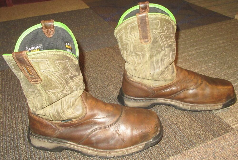 0ad131d7346 Mens ARIAT Rebar Flex Western Composite Toe Leather Work Boots sz ...