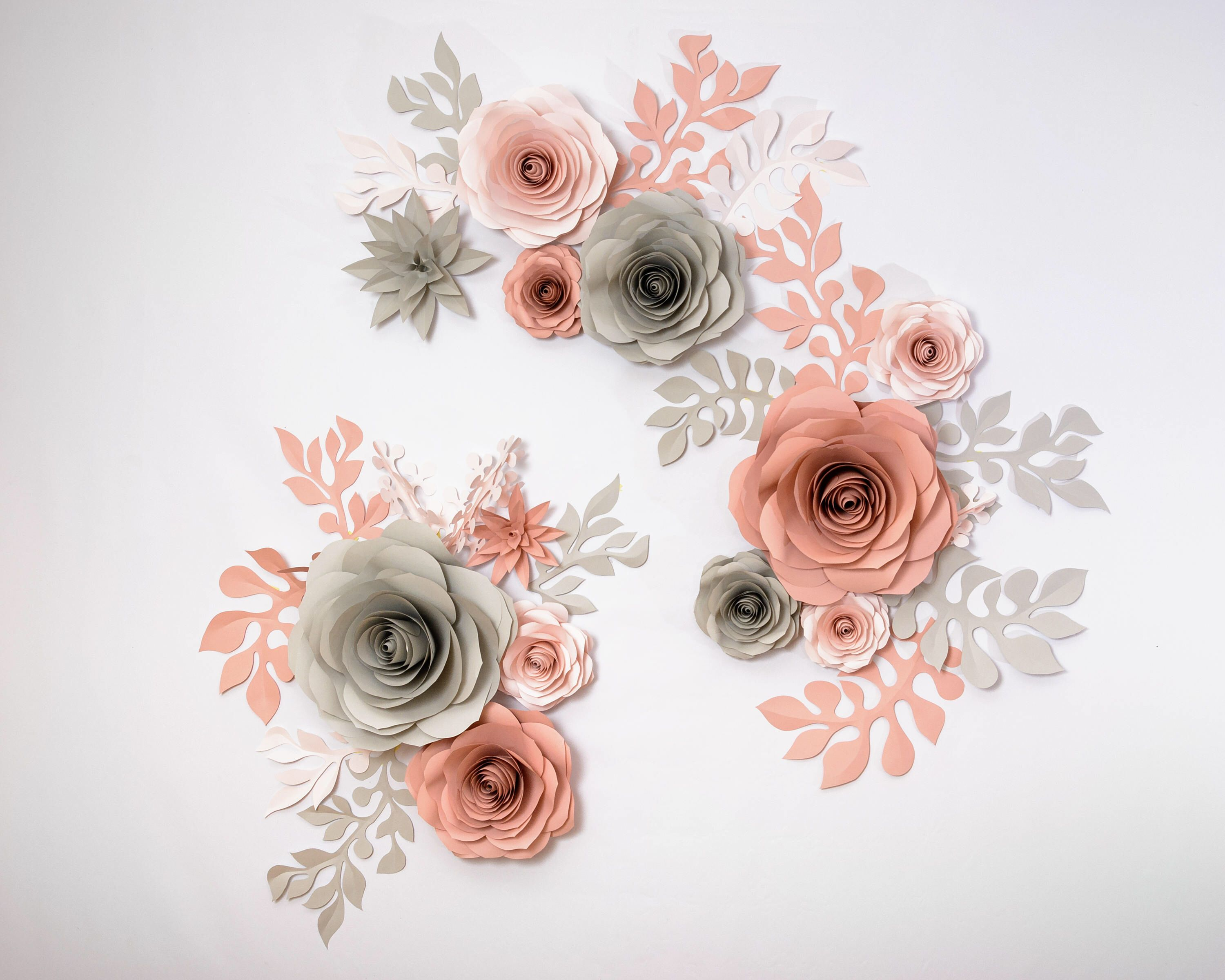 Paper Flower Backdrop Of Gray Pink Blush Roses Large Paper Flowers