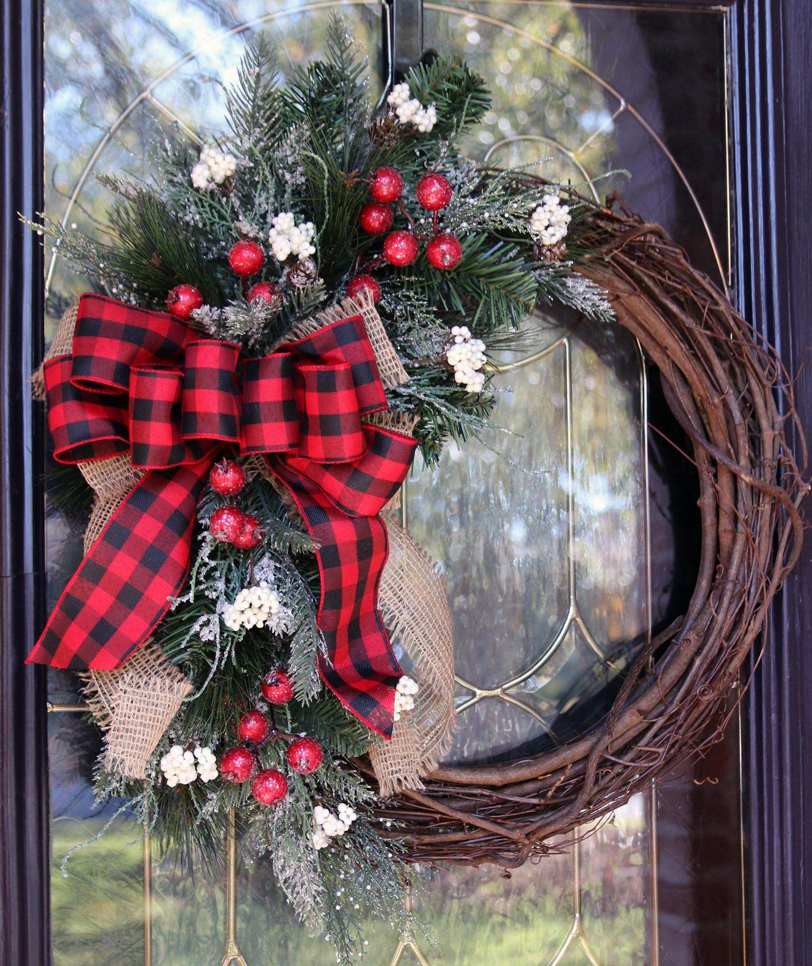 Farmhouse christmas wreath for front door buffalo plaid