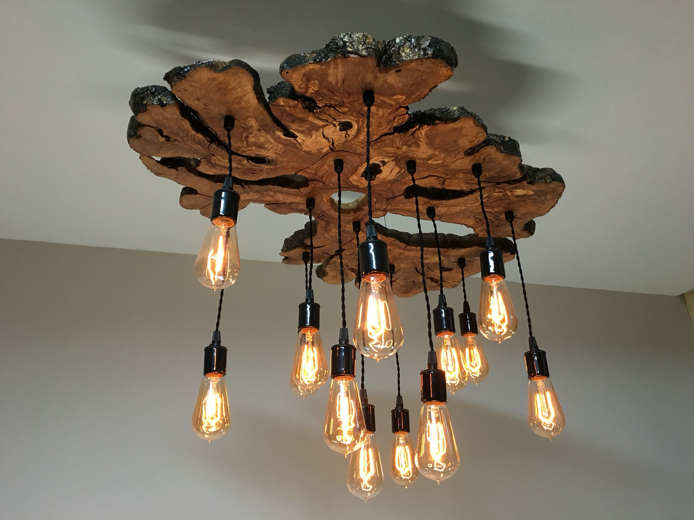 Live edge olive wood chandelier 7mwoodworking design interior