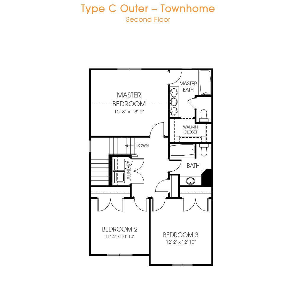 Check out our Type C Outer townhome floorplan. It comes with 3 bedrooms, 2.5 bathrooms, and 2,144 sq ft. It also comes with an unfinished basement.