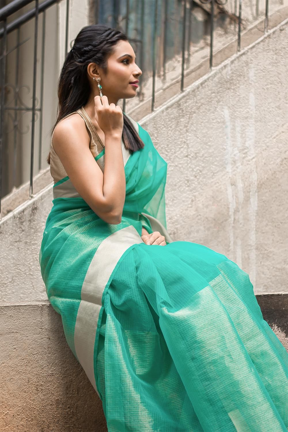 House of blouse blue cotton golden bordered saree with blouse