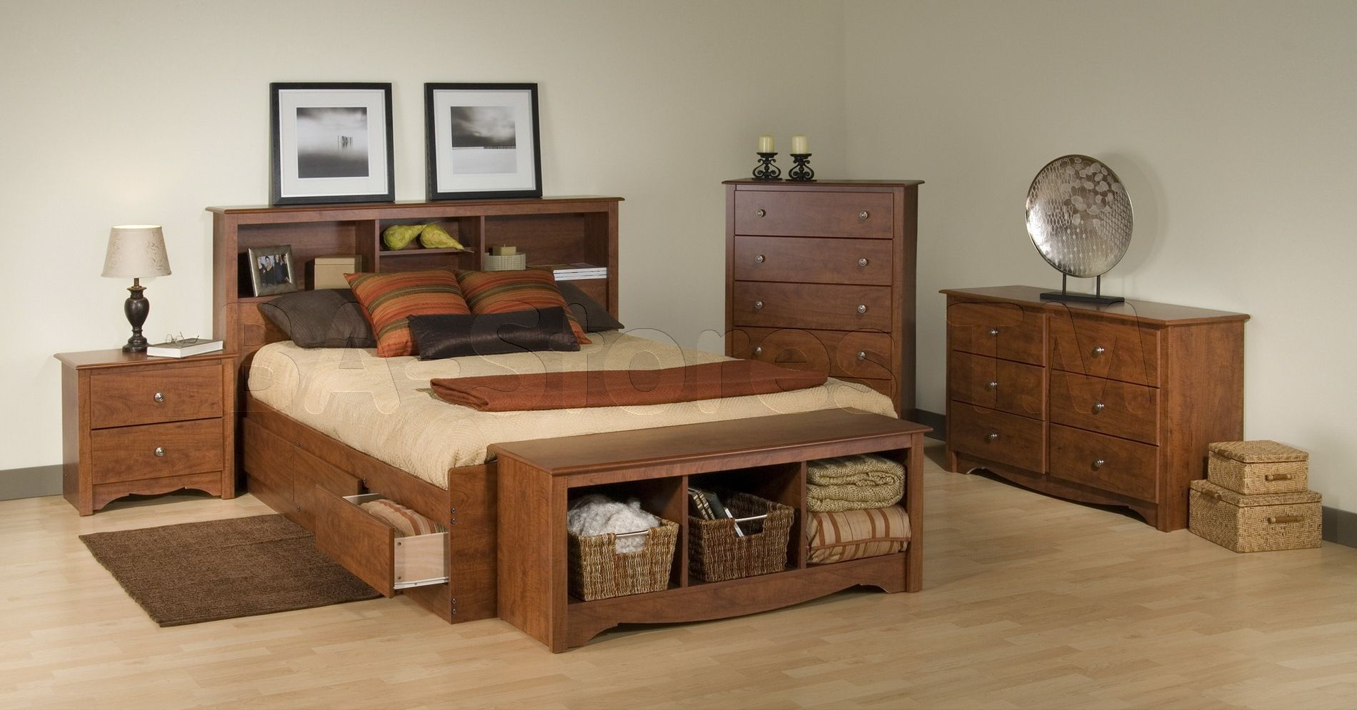 Prepac Monterey 4 Pc Double Size Bedroom Set In Cherry Bed Two