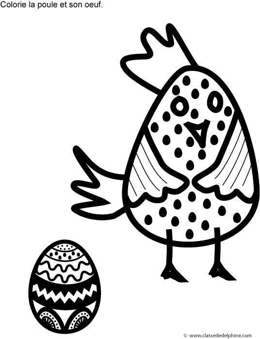 coloriage poule et oeufpdf pques en approche voici une coloriage de poulette