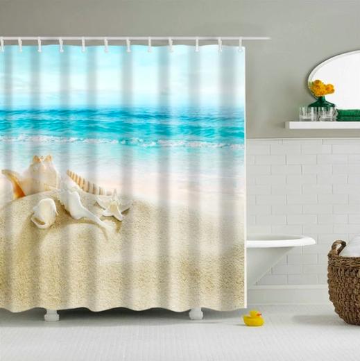 Sandy Shells Fabric Shower Curtain In 2020 Beach Shower Curtains
