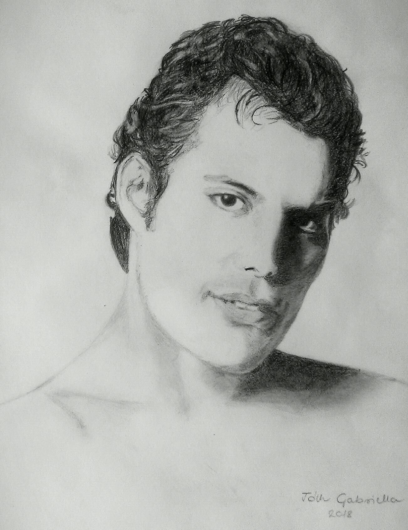 Freddie mercury queen pencil drawing by gabriella tóth