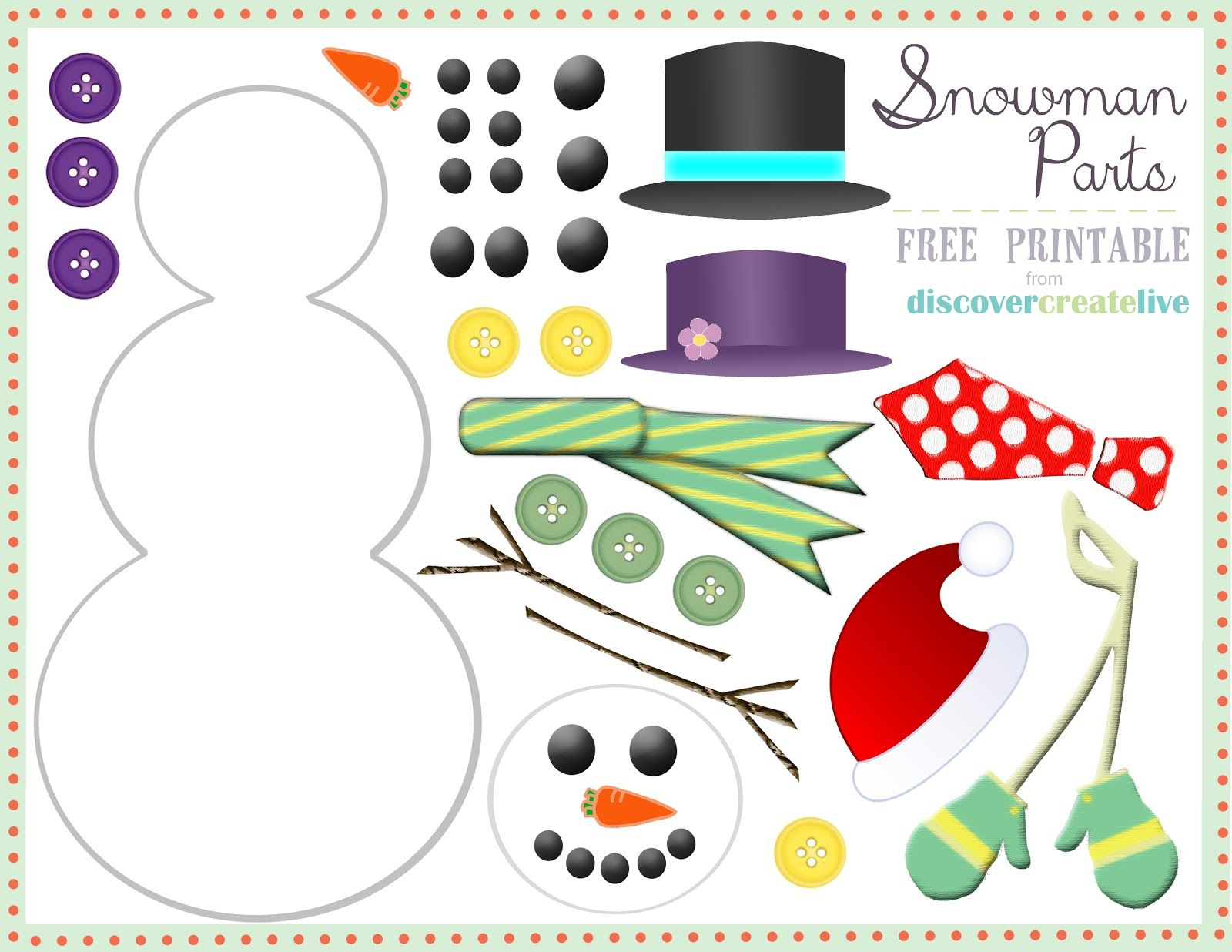 discover. create. live.: graphic monday: snowman parts assembly